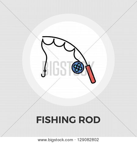Fishing rod icon vector. Flat icon isolated on the white background. Editable EPS file. Vector illustration.