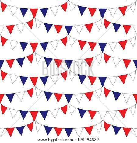 Red white and blue banner flags with seamless repeating design