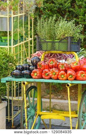 A chariot with colorful vegetable at the market