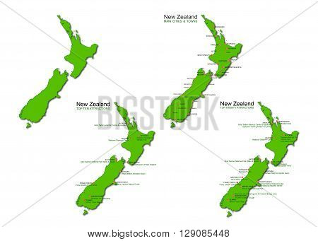 A set of four detailed maps of New Zealand isolated on a white background. Designed for the travel and tourism industry and includes the top ten NZ attractions main cities and towns and top twenty things to do. Vector illustrations may be re-colored edite