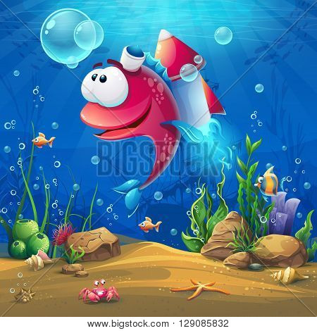 Undersea world with funny fish. Marine Life Landscape - the ocean and the underwater world with different inhabitants. For design websites and mobile phones printing.