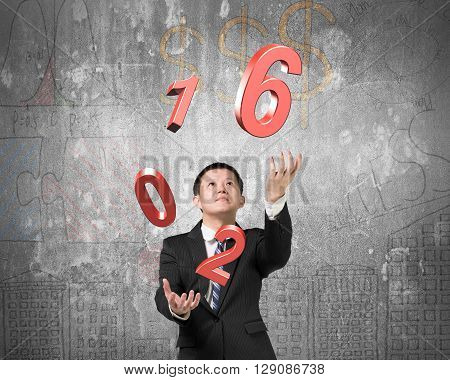 Man catching throwing 2016 red words on doodles concrete wall background. 3D Rendering
