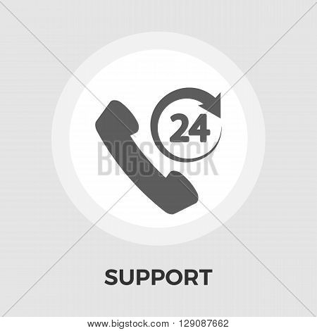 Support 24 hours icon vector. Flat icon isolated on the white background. Editable EPS file. Vector illustration.
