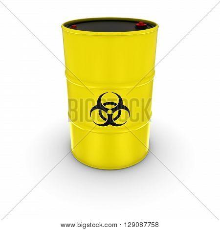 Isolated Yellow Biohazard Barrel - 3D Illustration