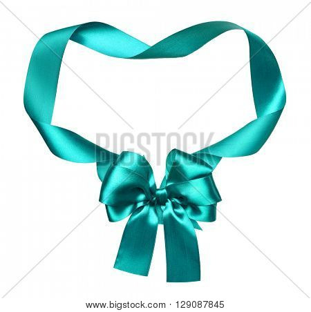 cyan green silk bow and ribbon decoration object on white as frame