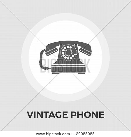 Vintage phone icon vector. Flat icon isolated on the white background. Editable EPS file. Vector illustration.