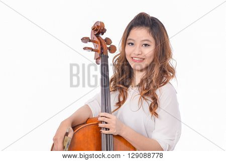 asian young girl with violin,