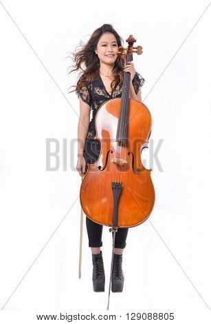 Portrait of full body asian young girl with big violin