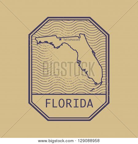 Stamp with the name and map of Florida, United States, vector illustration