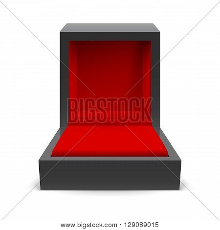 Open black box for jewelry on a white background