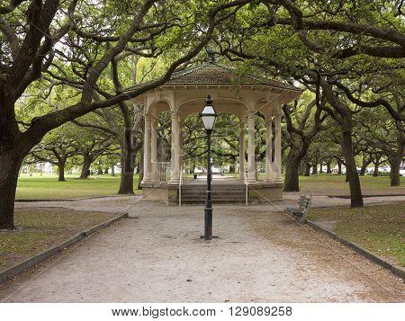 Park and gazebo in the Battery in historic Charleston, South Carolina