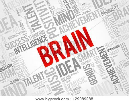 Brain word cloud business concept, presentation background