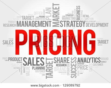 Pricing word cloud business concept, presentation background