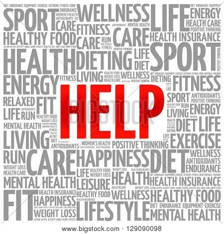 HELP word cloud presentation background health concept