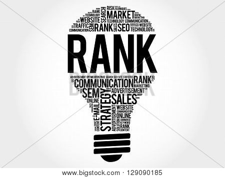 RANK bulb word cloud business concept, presentation background