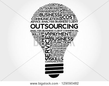 Outsourcing bulb word cloud business concept, presentation background