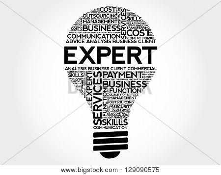 Expert bulb word cloud business concept, presentation background