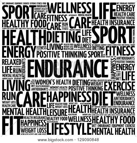 ENDURANCE word cloud health concept, presentation background