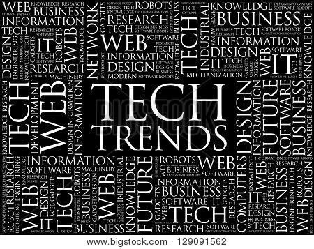 Tech Trends word cloud concept, presentation background