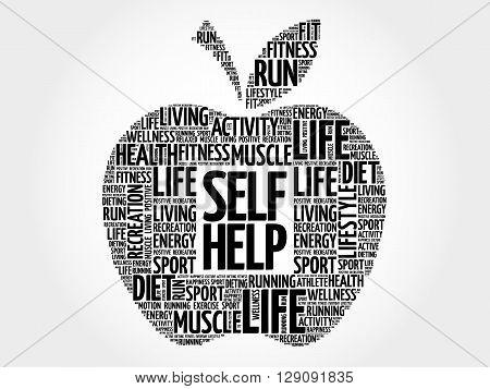 Self Help apple word cloud health concept