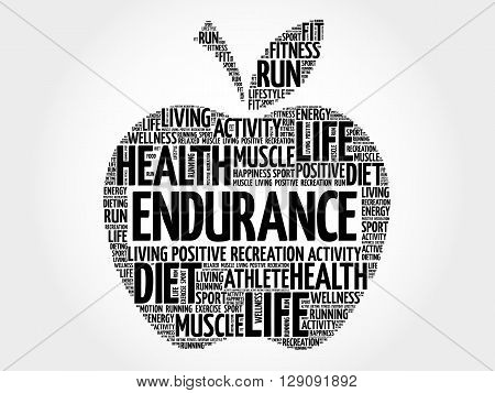 ENDURANCE apple word cloud health concept, presentation background