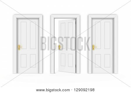 Half Open White Door in Line of Three - Isolated on White 3D Illustration