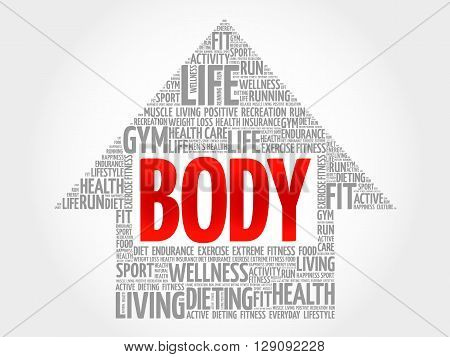 BODY arrow word cloud health concept, presentation background
