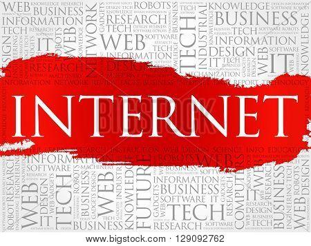 Internet word cloud business concept, presentation background