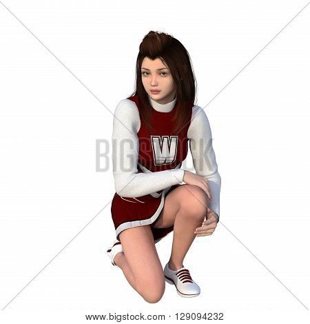 One young girl in white-red uniform of cheerleader. Sitting on one knee. 3D rendering, 3D illustration