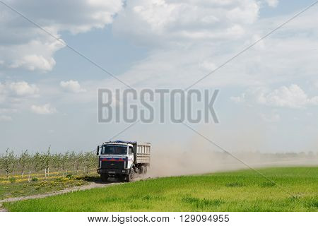 Gomel, Belarus - May 4, 2016: a truck with the awning performs livestock transportation in agro OCTOBER.