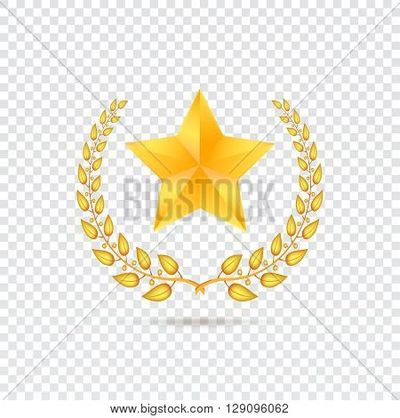 Golden five-pointed star with Laurel wreath on transparent background, vector illustration for your presentation, posters, cover and other design