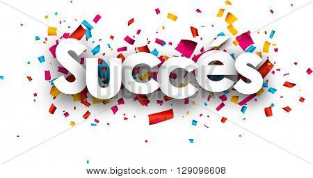 Success paper banner with color confetti, French. Vector illustration.