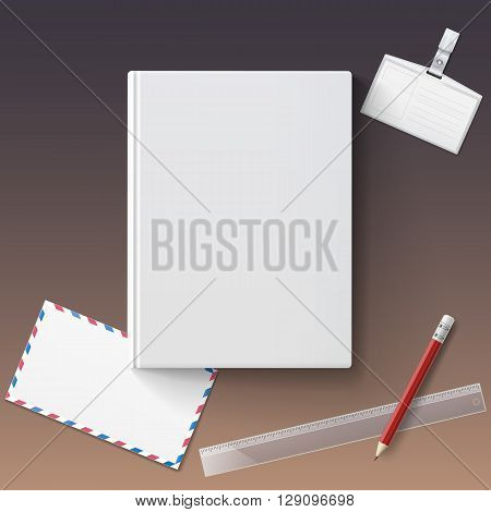 Blank book cover with stationery, vector illustration gradient mesh. Isolated objects template for design and branding. Mock-up of book with envelope, badge, pencil and ruler