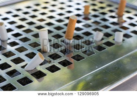 Smoked cigarettes in dirty ashtray with sand.