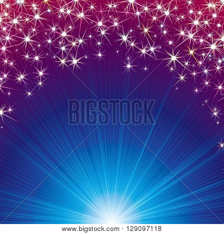 Abstract Magic Background with Stars, Beams and Sparks. Vector illustration