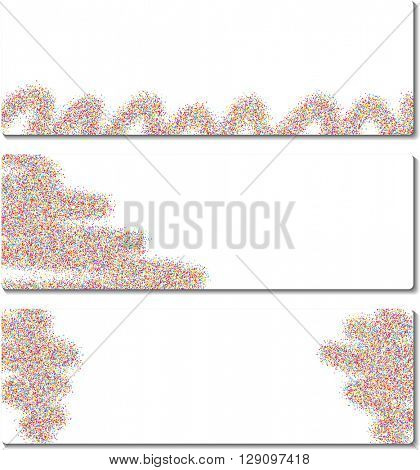 Set of abstract banners with color sand. Vector illustration.