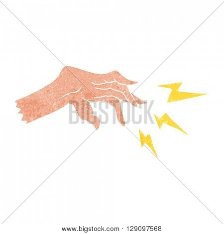 freehand retro cartoon hand casting spell