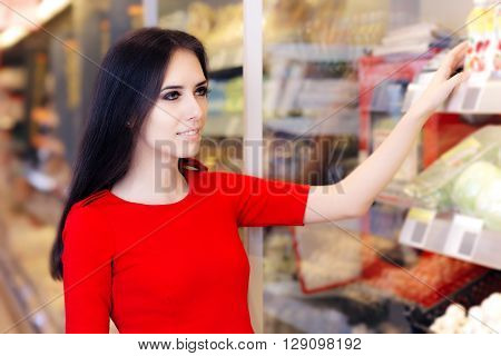 Woman Shopping at Shelf in Supermarket Store