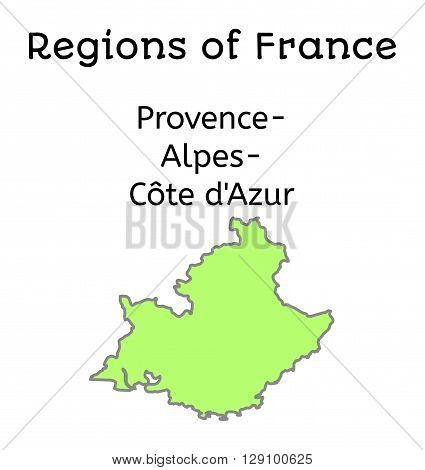 France administrative map of Provence-Alpes-Cote dAzur region on white