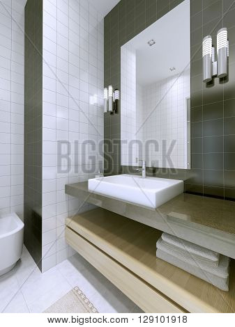 Wash basin with large framless mirror. White and dark grey matt tile in interior. 3D render