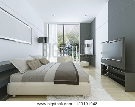 Beautiful view of nice cozy bedroom with summer outdoor. Dressed bed with ligth grey colored pillows and double colored walls. 3D render