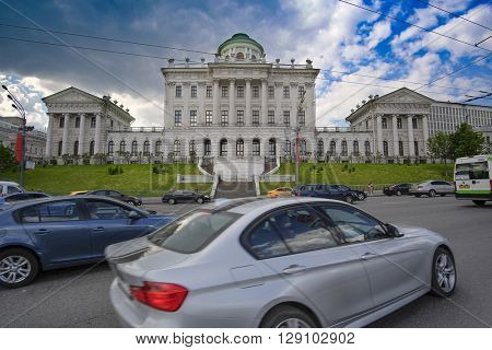 Moscow, Russia - May, 6, 2016: view of Ohotniy riad - the street in a center of  Moscow, Russia and Pashkov dom (Pashkov house). There is Lenin library in this house now