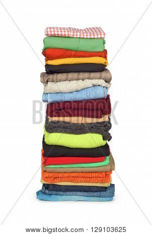 family laundry pile of clothing isolated on a white background