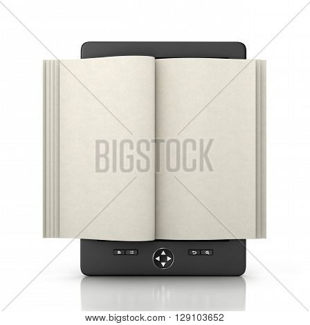 e-book reader tablet with empty pages isolated 3d illustration