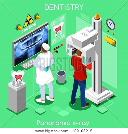 Dental panoramic teeth x ray radiography oral imaging dental centre dentist and patient. Flat 3D isometric people dentistry clinic room dental visit.