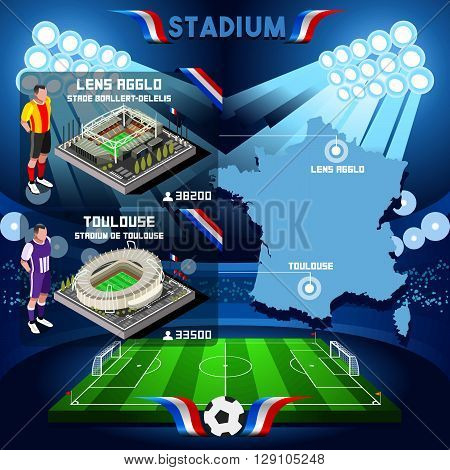 France stadium infographic Stade de Lens Agglo Boallert Delelis and Stadium de Toulouse.
