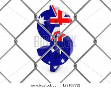 Australian Flag Dollar Symbol Behind Chain Link Fence With Depth Of Field - 3D Illustration