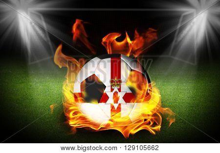 close up on Northen Ireland Soccer ball on fire Football