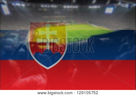 close up on stadium with blending Slovakia flag