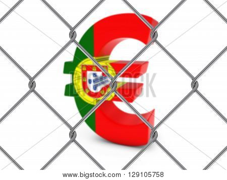 Portugal Flag Euro Symbol Behind Chain Link Fence With Depth Of Field - 3D Illustration